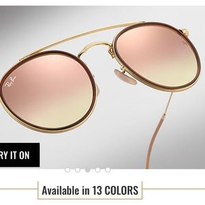 Ray Ban rose gold round mirror lens sunglasses